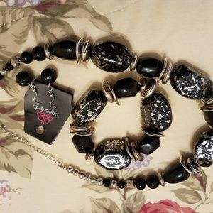 Black statement necklace with matching bracelet